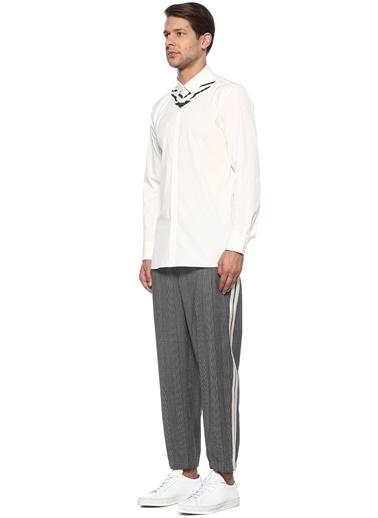 Neil Barrett Neil Barrett  Mikro Kazayağı Desenli Şeritli Pantolon 101438125 Gri